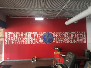 Custom indoor vinyl mural reception